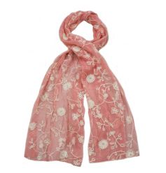 A fine quality pink scarf with an embroidered floral design. A lovely gift item and fashion accessory.
