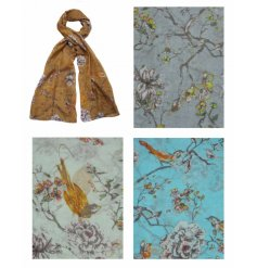 A mix of 4 colourful Spring scarves with a bird design and a touch of glitter.
