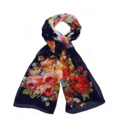 A mix of 4 bold and colourful floral scarves in a range of colours.