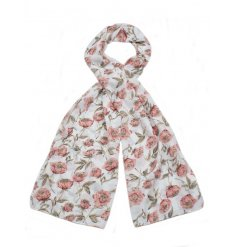 Navy and pink coloured pretty floral scarves. A lovely seasonal gift item and fashion accessory.