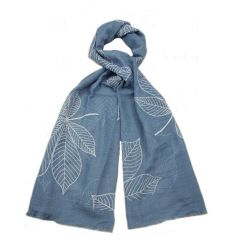 Blue, taupe and brown leaf design scarves. A chic fashion accessory and gift item.