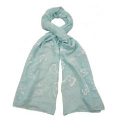 Grey, white, blue and green pastel coloured scarves with a delicate butterfly design.