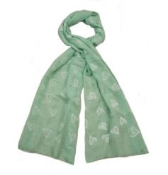 Grey, blue and green pastel coloured scarves with a pretty white heart pattern. A lovely gift item and fashion accessory