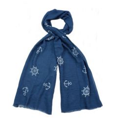 An assortment of 3 blue and white nautical design scarves. The perfect way to stay on trend this season.