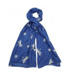 A vibrant blue scarf with white embroidered dragonflies. This scarf compliments many outfit choices.