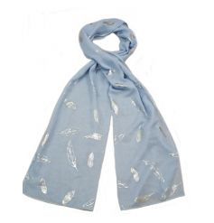 An assortment of 4 beautiful soft coloured scarves with a silver foil feather design.