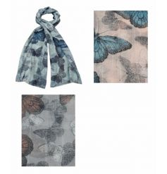 A mix of 3 pretty butterfly design scarves with a sequin thread running through.