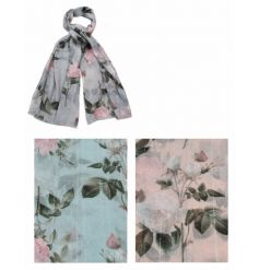 An assortment of 3 pretty pastel scarves with a floral design and silver thread detailing.
