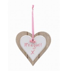 A sweet natural toned double wooden heart plaque