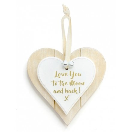 Double Heart Love You To The Moon Hanging Decoration