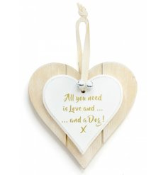 Double Heart Love & Dog Hanging Decoration