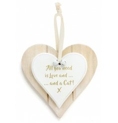 Double Heart Love & Cat Hanging Decoration