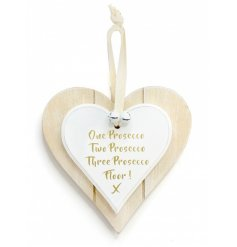 Double Heart 1 2 3 Prosecco Hanging Decoration