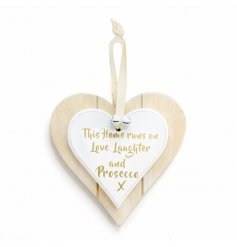 A white double heart hanging decoration with love, laugh & prosecco slogan
