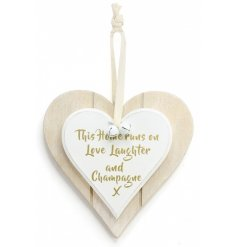 Double Heart Love, Laugh & Champagne Hanging Decoration