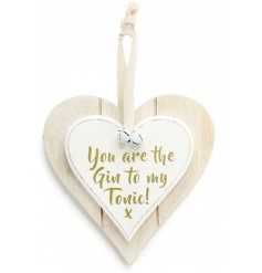Romantic You are the gin to my tonic hanging heart decoration