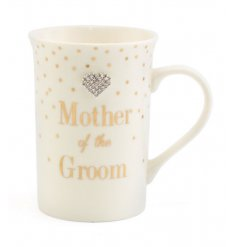 A lovely gift for the Mother of the Groom. A fine quality mug from the popular Mad Dots range.