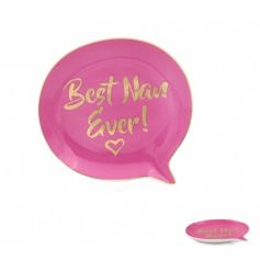 A bold pink  trinket dish with Best Nan Ever! slogan.
