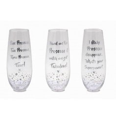 3 quirky silver bubble designed stemless flute glasses. Finished with 3 assorted comical prosecco quotes