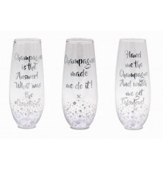 3 quirky silver bubble designed stemless flute glasses. Finished with 3 assorted comical champagne quotes