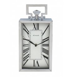 A Silver Rectangle Clock Featuring Roman Numerals