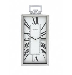 A Silver Rectangle Clock With Roman Numerals