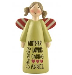 A charming angel sentiment gift with a loving slogan.