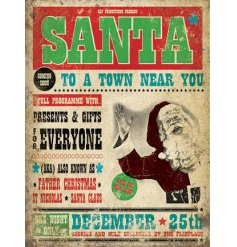 A vintage style metal sign with a traditional Santa illustration with a coming soon slogan.