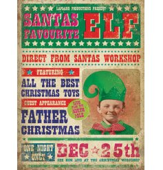 A fabulous vintage metal sign with a Santas Favourite Elf film advert.