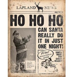A fabulous vintage metal sign with a newspaper style print by Lapland News. A unique Christmas gift and sign.
