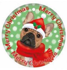 A sweet little rounded metal sign with a winter ready french bulldog on the front