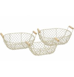 An assortment of 3 wired baskets in different sizes. All complete with wooden handles