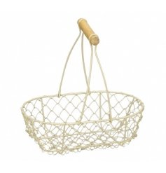 A sweet little wired basket in an oval shape and finished with a wooden handle