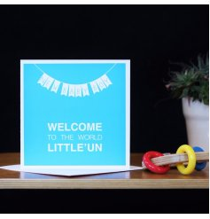 This new baby boy card welcomes a new born to the world in those exact words.