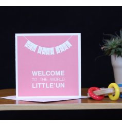 This new baby girl card welcomes a new born to the world in those exact words.