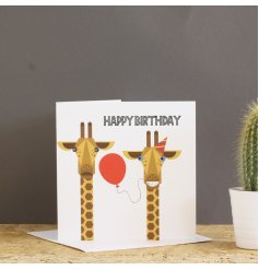 A fantastic graphic illustration of a young giraffe offering a balloon and to an older giraffe.