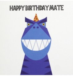 A fantastic graphic illustration of a very happy dinosaur offering a birthday smiles and celebration to his mate