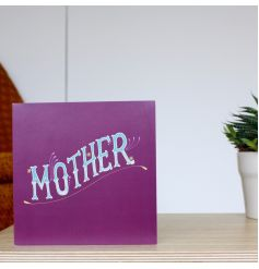A bold and colourful greetings card with a retro Mother slogan. A great card for many occasions.