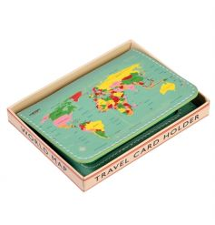 The perfect gift for those on the go! A travel map design card holder with gift box.