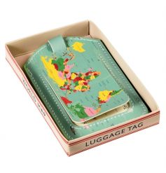 A vintage style world map luggage tag with gift box. A great gift item for those who love to travel!
