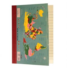 Keep a journal of your travel adventures with this vintage inspired world map lined notebook