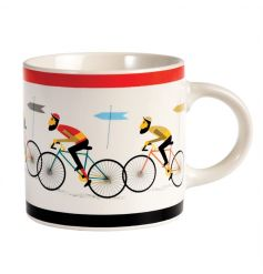 A Fine China Mug featuring a cycling print from the Le Bicycle range
