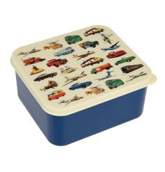 A vintage style lunch box with transport design is sure to be loved by kids.