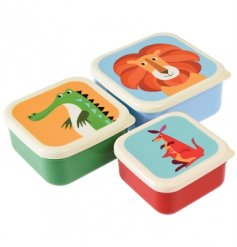A set of 3 colourful creatures snack boxes in 3 various sizes. Including crocodile, kangaroo and lion designs.