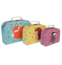 Set of three Rusty And Friends children's mini cases with matching printed interiors