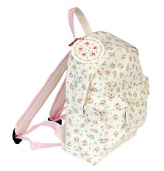 A cute little fabric backpack in a mini size, perfect for childrens school suppliers or sleep overs!