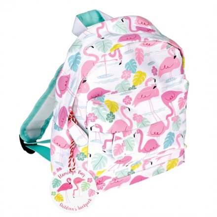 A stylish mini children's backpack with a colourful Flamingo Bay design.