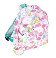 A fun and fabulous Mini Flamingo Bay children's backpack, complete with a carrying handle