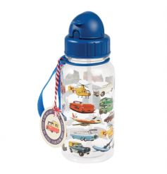 A vintage transport children's water bottle with in-built straw. Complete with carry handle for when you're on the go!