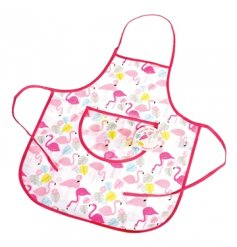 A flamingo design childrens apron. Simply wipe clean.